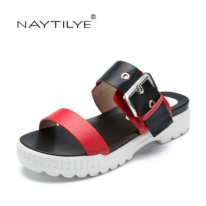 Zapatillas de mujer sandalias de cuero Pu Zapatos de moda básicos - Zapatos de mujer