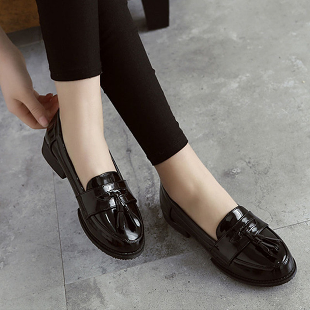 Ladies Casual Flat Loafers Shoes Fashion Patent Leather Round Toe Women Flats Size 34-43 Women's Flats New England Women Oxfords