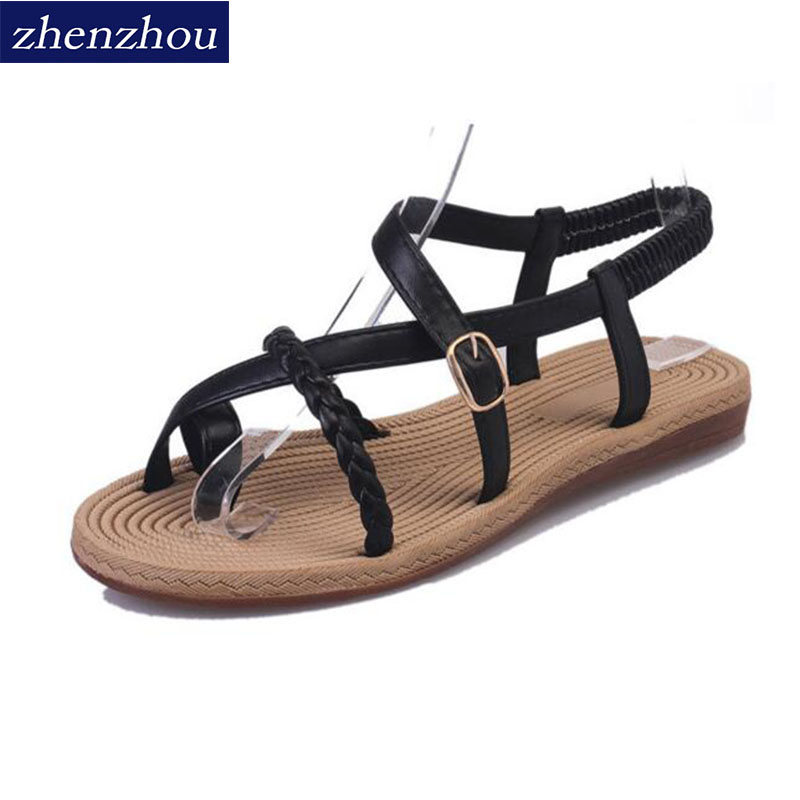 Free shipping New summer sandals for 2016. female fashion Fine with Roman shoes Flat-bottomed sandal for women's shoes. new women sandals low heel wedges summer casual single shoes woman sandal fashion soft sandals free shipping