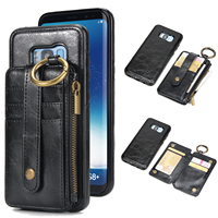 Leather Case Wallet Flip Card Stand Detachable Dual Use Cover for Iphone X 8 7 6 6S Plus 5 5S SE Samsung S8 S7 S6 Litchi Pattern