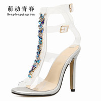 2018 Women High Heels Shoes Gladiator Open Toe Casual High Heels Sandals Women Buckle Strap Crystal