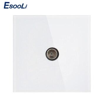 Esooli 3 colores de lujo cristal Panel TV Jack enchufe de pared de vidrio templado cableado accesorios salida