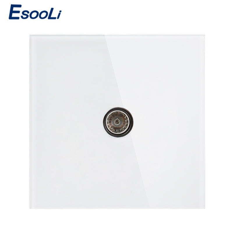 Esooli 3 colors Luxury crystal Glass Panel TV Television Jack Wall Socket Tempered Glass Wiring Accessories Outlet