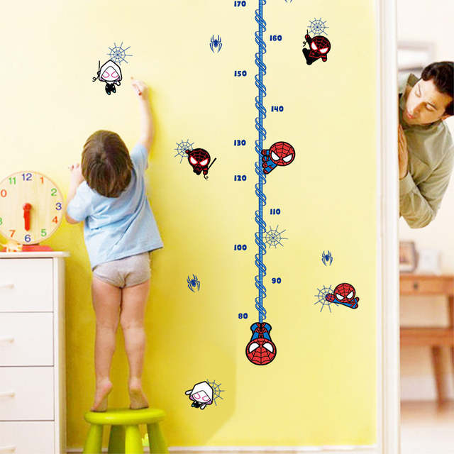 Online Shop 180cm Boy Height Growth Chart Stickers Super Hero Spider
