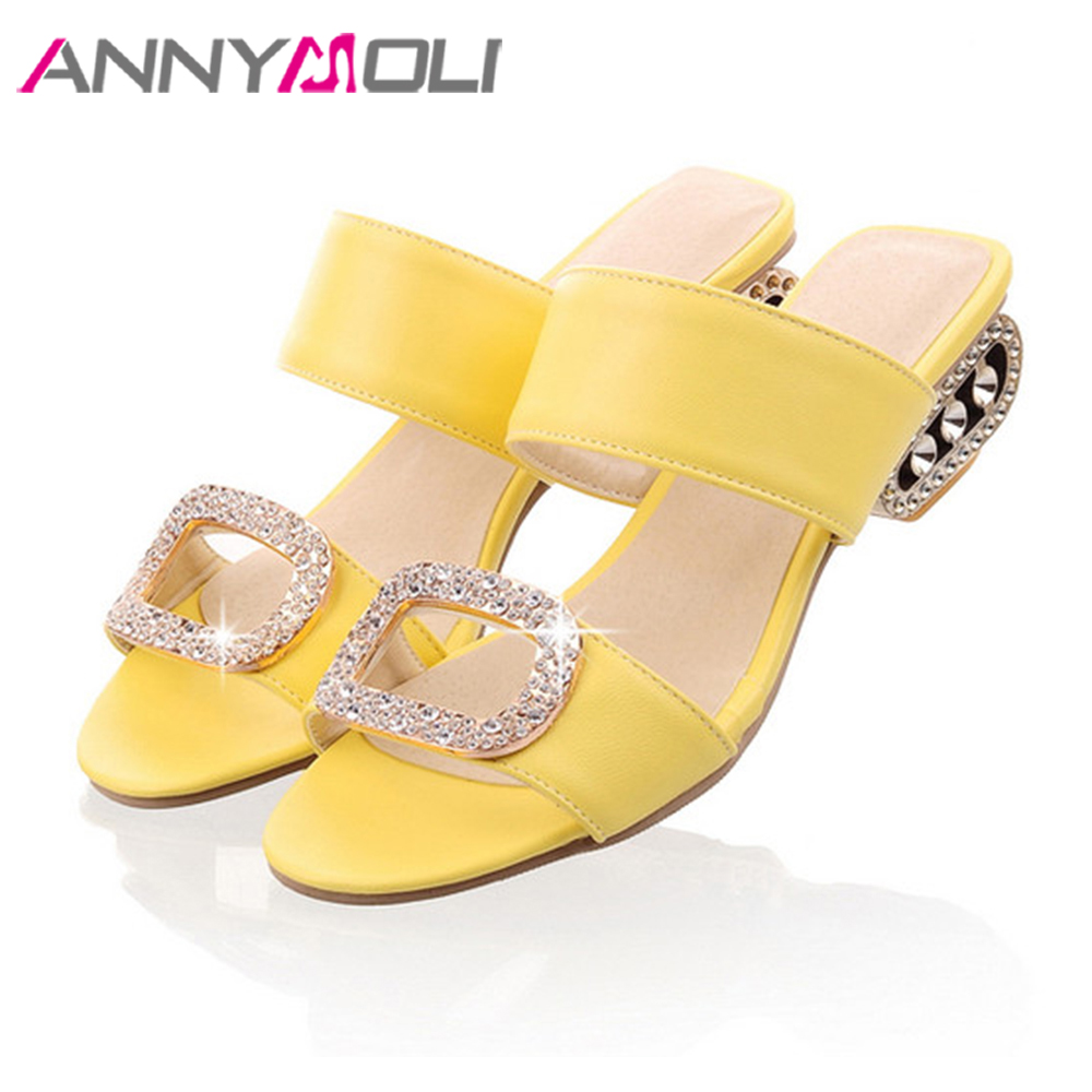 ANNYMOLI 2018 Summer Slippers Women Rhinestone Shoes Med Heels Casual Shoes Crystal Slides Big Size 9 42 43 Orange Yellow Blue