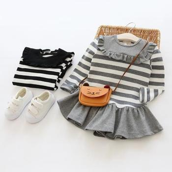 girl one piece long sleeve dress for spring and autumn stripe dress Tops & Tees