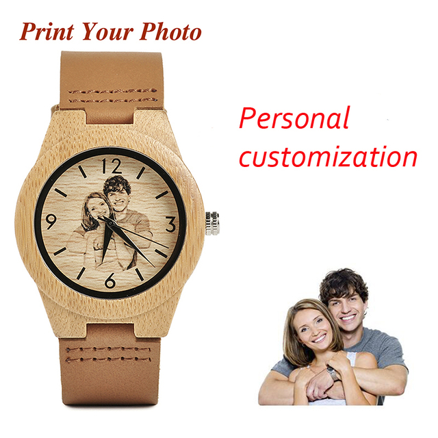 BOBO BIRD Custom Picture Family Gifts Bamboo Couple Watch Men Ladies Quartz Wris