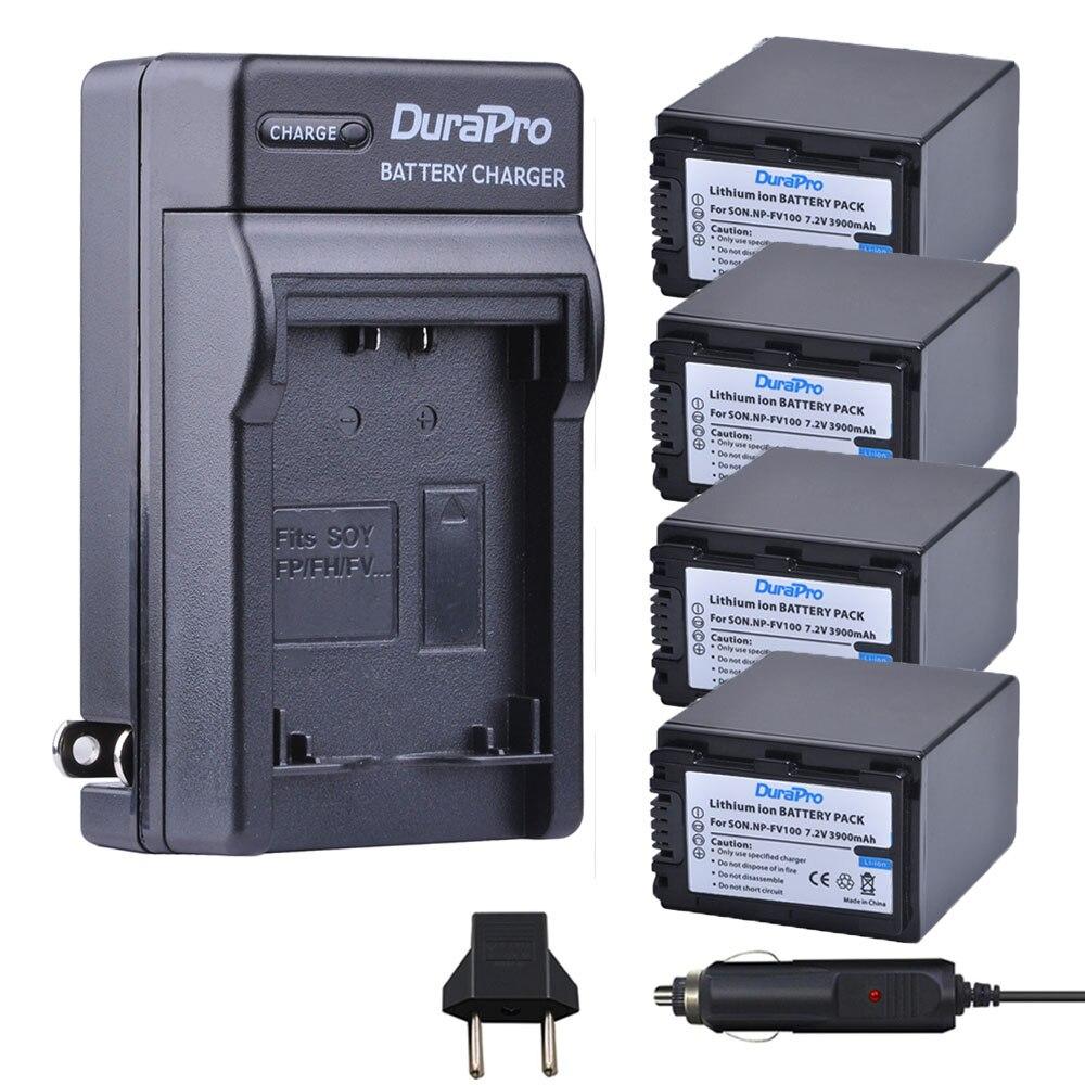 4pc 3900mAH NP-FV100 NPFV100 NP FV100 Li-ion Battery + Car Charger For SONY HDR-CX190 HDR-XR550/E HDR-XR350/E HDR-XR150/E sony hdr ax2000e