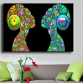 Cuadros Decoracion Painting black light psychedelic flower girls Home Decorative Art Picture Paint On Canvas Prints No framed