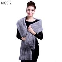 NGSG 180cm black real mink scarf women soft imported Brown mink stripe scarves Winter neck warm oversized unisex gray fur scarf