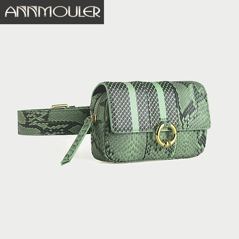 Annmouler Fashion Women Waist Bag Pu Leather Fanny Pack Serpentine  Waist Pack Designer Belt Bag Hip Bag Phone Bag