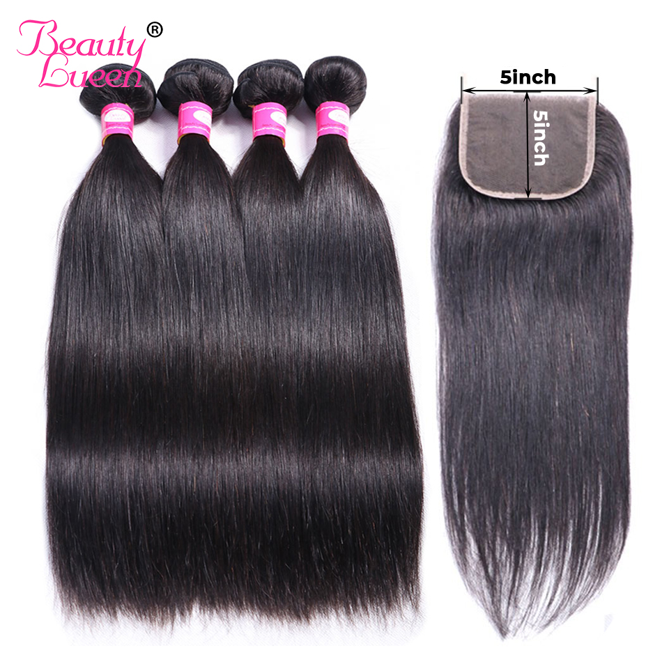 5x5 Closure With Bundles Brazilian Straight Hair Bundles With Lace Closure Remy Human Hair 3 Bundles With Closure Beauty Lueen