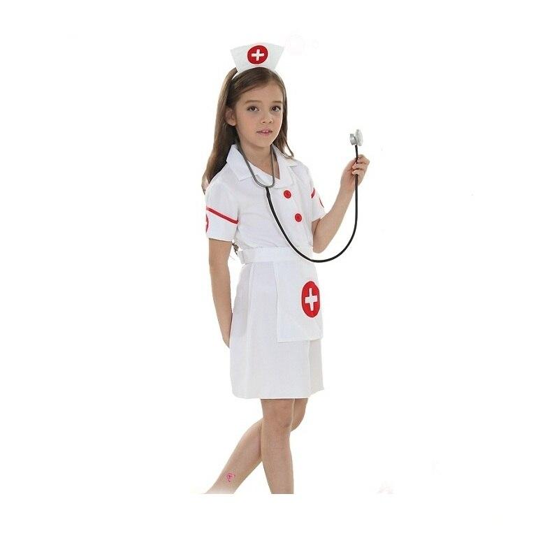 Elegant Halloween Girls Nurse Uniform Masquerade Carnival Fancy Dress Kids Nurse Role Playing Dress with Hat