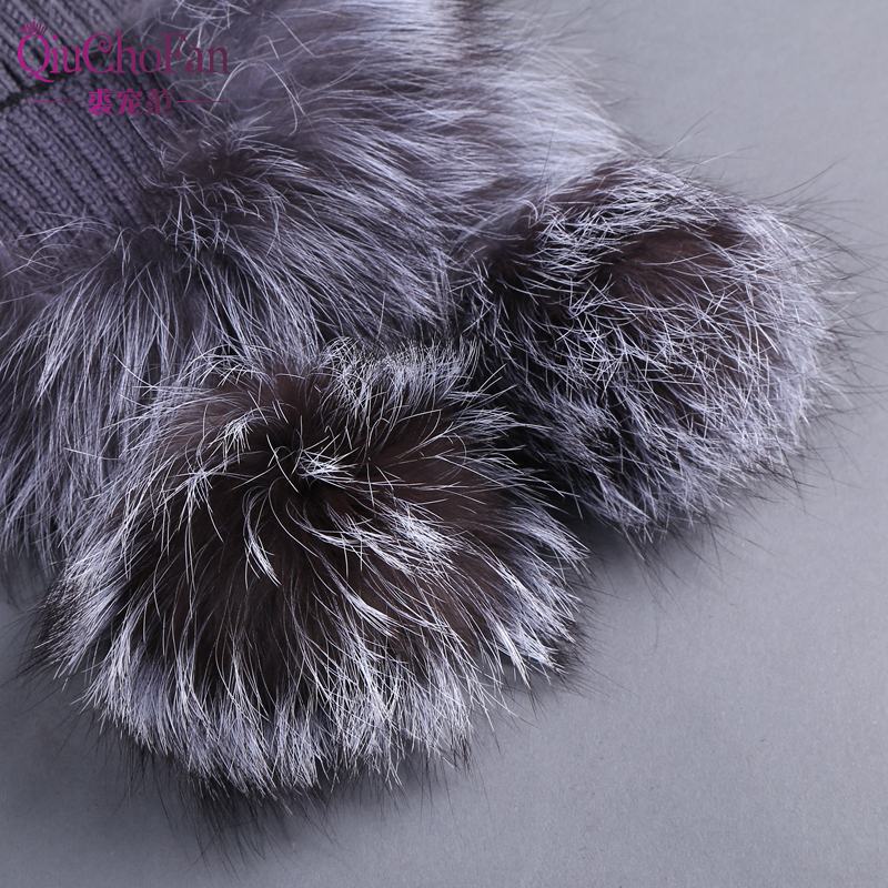 Winter Warm Real Rex Rabbit Fur Elastic Knitted Hats with Fox Fur Flower 2019 Real Fur Women 39 s Beanies Hat with Ear Flaps in Women 39 s Bomber Hats from Apparel Accessories