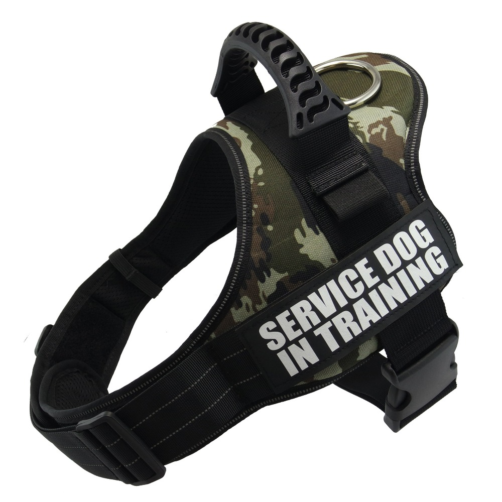 Pet Dog Harness K9 Reflective Rope Nylon Handle Adjustable Anti collision Vest Harness for Small Medium Large DogS Camouflage in Harnesses from Home Garden