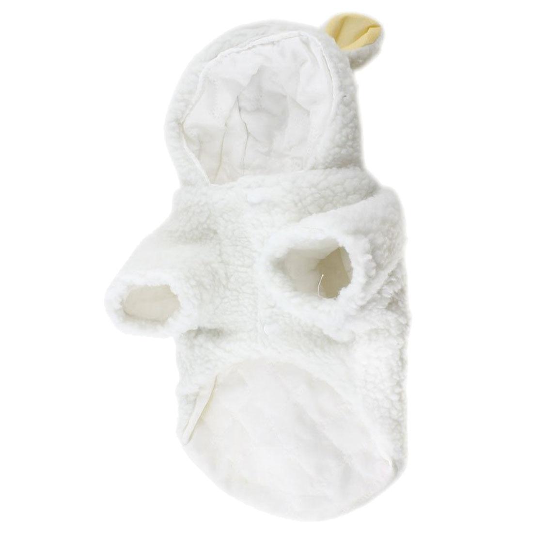 LHLL-White Sheep Design Press Stud Button Pet Dog Poodle Coat Costume L