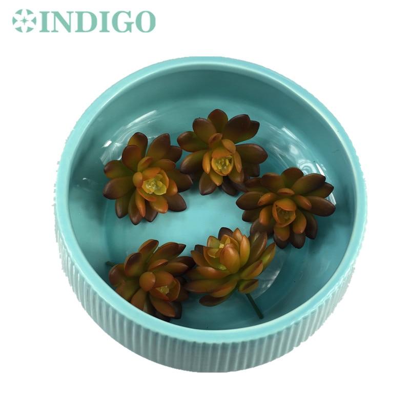 INDIGO- 5pcs Artificial Succulent Plant Echeveria Coffee Desert Rose Plastic Flower Table Decoration Greenery Free Shipping