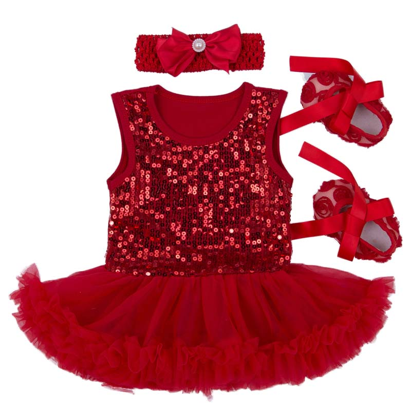 Newborn Baby Gift Set 2016 Sequin Infant Princess Dress Girl Fantasia Bebe Lace Tutu Romper headband Shoes 3pcs Baptism Dress baby girls infant love applique tutu set baby lace romper dress crib shoes headband 3 piece newborn baby girl clothing set bebe