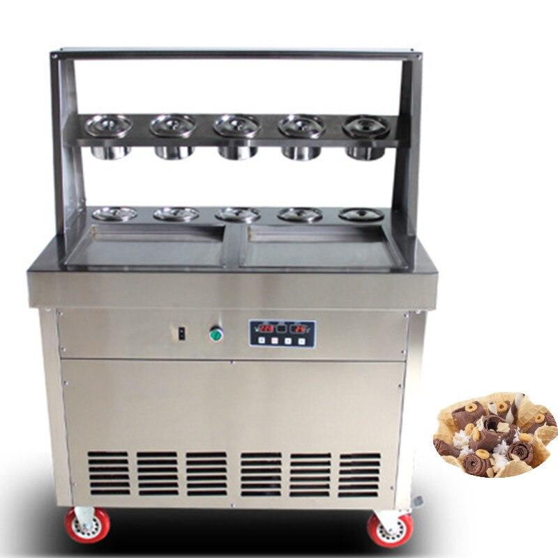 Ev Aletleri'ten Dondurma makinesi'de Kızarmış Yoğurt Makinesi Tayland Yavru Dondurma Tava Dondurma Yapma Makinesi Kızartma dondurma rulo makinesi title=
