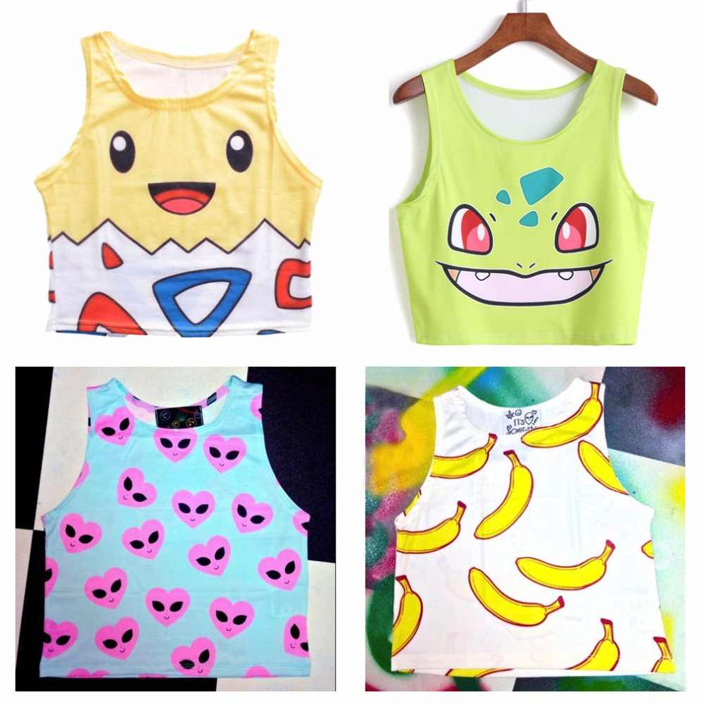 2016 new Pokemon Women Crop Top Fashion Sleeveless Cartoon Squirtle Pikachu Vest Camis Sexy Crop Top