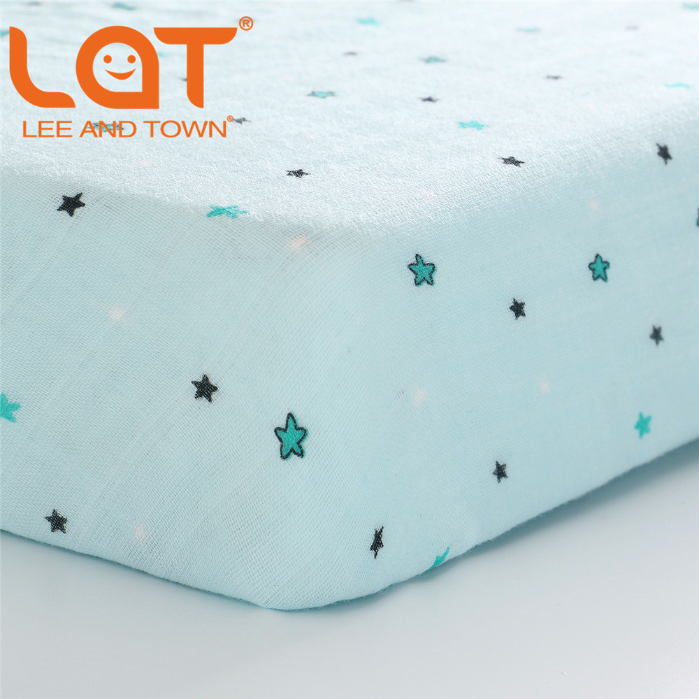 LAT 100% Cotton Crib Fitted Sheet Unicorn Soft Baby Bed Mattress Cover Protector Cartoon Newborn Bedding For Cot Size 130*70cm