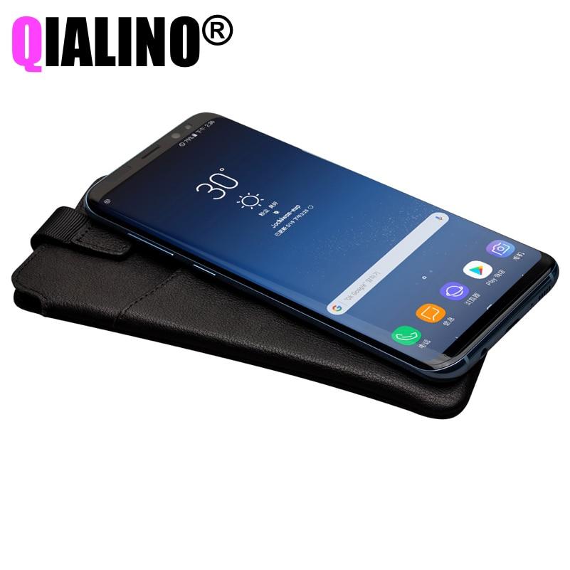 imágenes para QIALINO Wallet Bolsos Del Teléfono Caso de Cuero de Lujo Genuino para S8 Plus Cubierta Cubierta para Samsung S8 Más Ultrafino Suave Marca monedero
