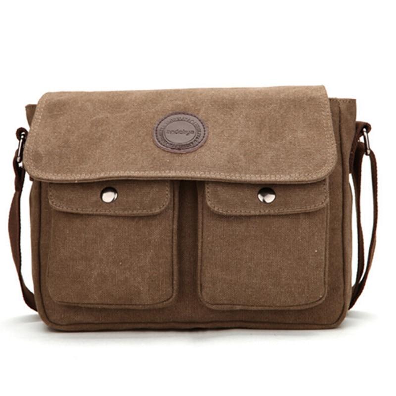 High Quality Men Messenger Bags Vintage Canvas Bag Men's Solid Cover Zipper Casual Shoulder Laptop Bags Cross Body Bag Y45