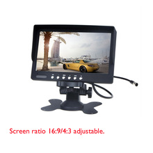 Black Car Monitor 7″ TFT LCD Car Rear View Camera Monitor Support 2CH Input + IR Remote Control For DVD VCD STB with Bracket