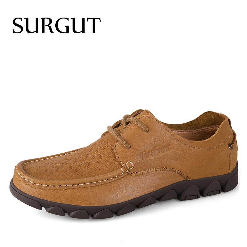 SURGUT Brand Newest Fashion Genuine Leather Driving Moccasins Men Loafers Lace Up Breathable Comfortable Shoes Men Casual Shoes xx brand 2017 genuine leather men driving shoes summer breathable loafers comfortable handmade moccasins plus size 38 47 footwea