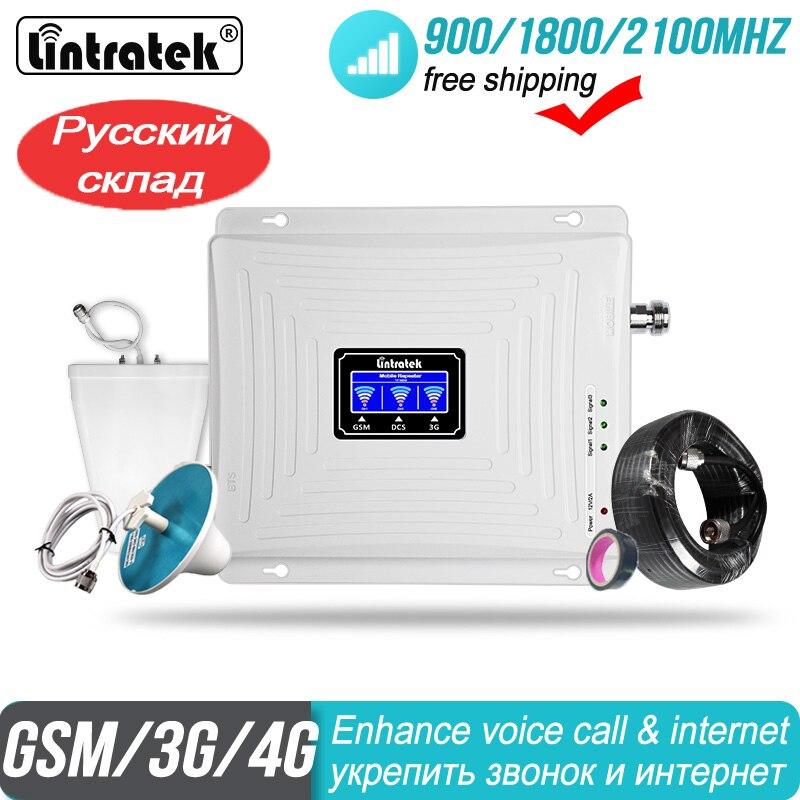 4G Segnale ripetitore GSM 2G 3G 900 1800 2100 Ripetitore WCDMA Tri Band Lintratek kw20c gdw Cellulare 65dB LTE Amplificatore per cellulare di Segnale  ripetitore Del Segnale Del Telefono Delle Cellule di WCDMA 2100mhz