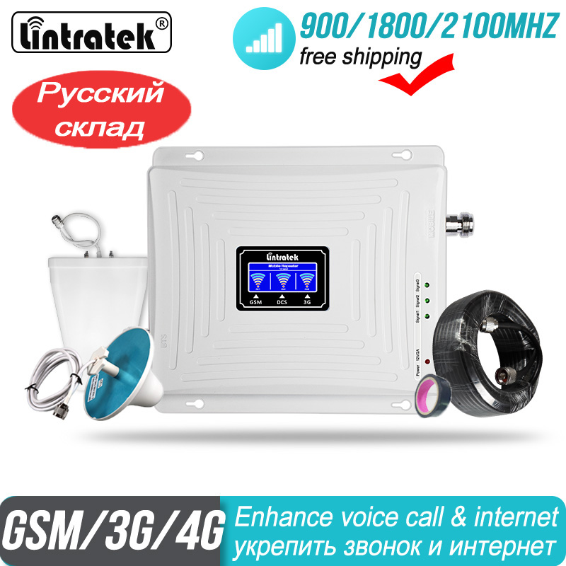 4G Signal Booster GSM 2G 3G 900 1800 2100 Repeater WCDMA Tri Band Lintratek kw20c gdw Cellular data LTE Cell phone Amplifier#50