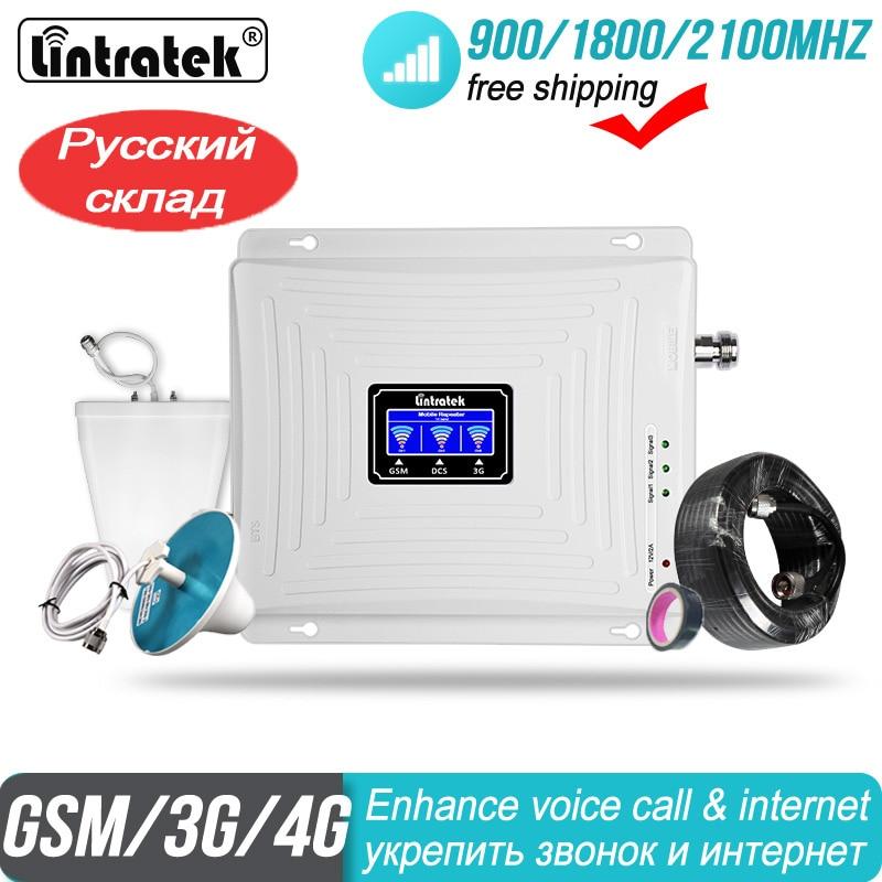 Amplificateur de signal GSM 900 1800 2100 répéteur WCDMA Tri-Band Lintratek kw20c gdw Cellular 65dB LTE Amplificateur de téléphone portable 2G 3G 4G Amplificateur de Signal cellulaire Tri bande chaud GSM900