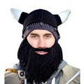 Cosplay Demon Ox horn Knight Knit Helmet Men's Caps The Original Barbarian Handmade Winter Warm Beard Hats Ski Funny Beanies