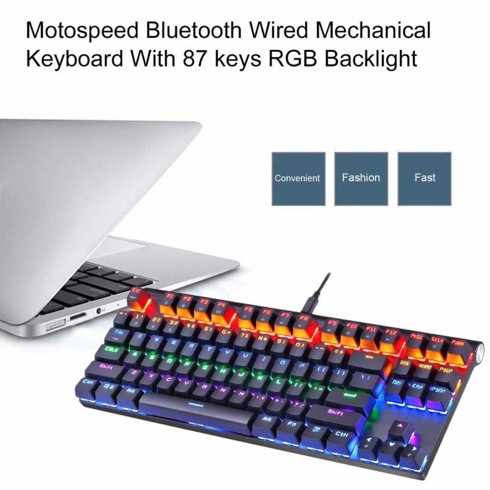 Motospeed K83 Bluetooth Mechanical Keyboard USB Wired Mechanical Keyboard With 87keys RGB Backlight For Laptop Desktop все цены