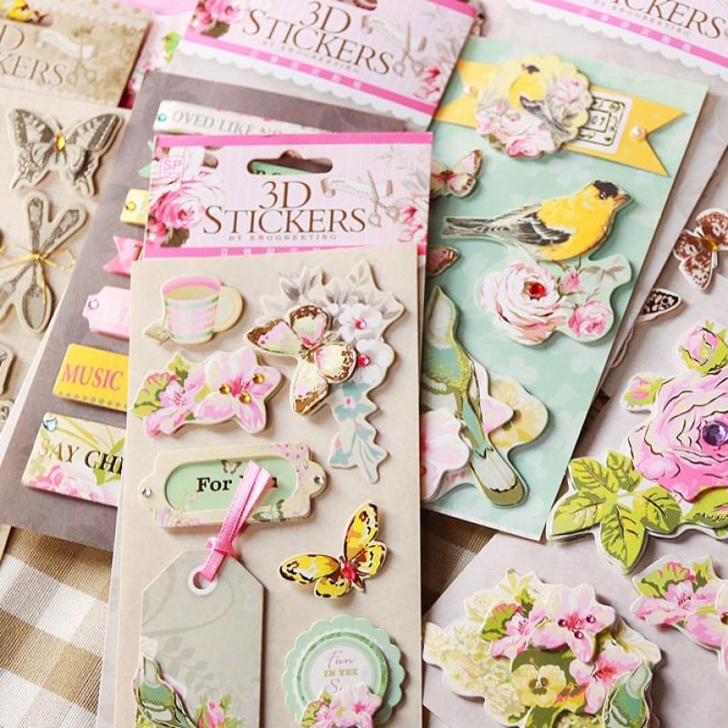 19patterns Cute 3D Card Paper Sticker Flower Butterfly Coffee Cup Boomark Bird Label Design Scrapbooking Embellishment
