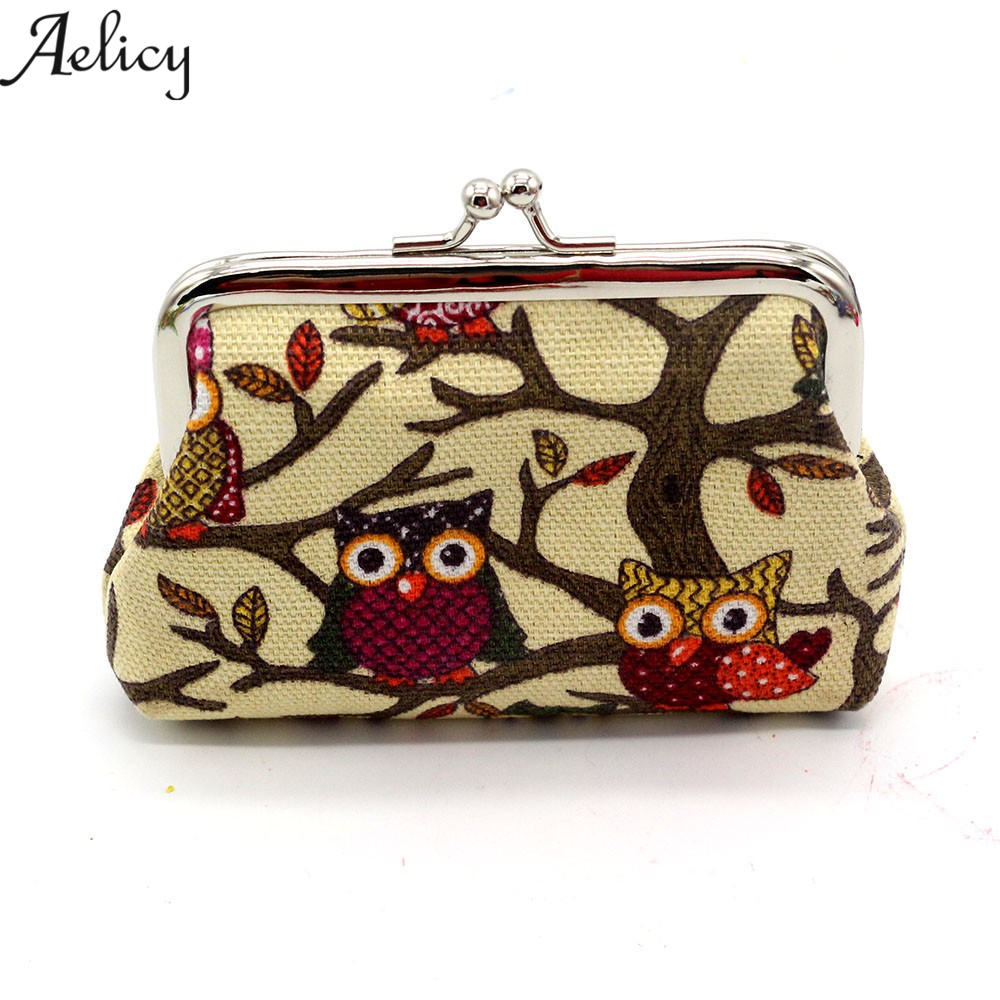 Aelicy Women Cute Coin Purse Retro Vintage Owl Canvas Small Wallet Girls Change Pocket Pouch Hasp Keys Bag Metal Bar Opening