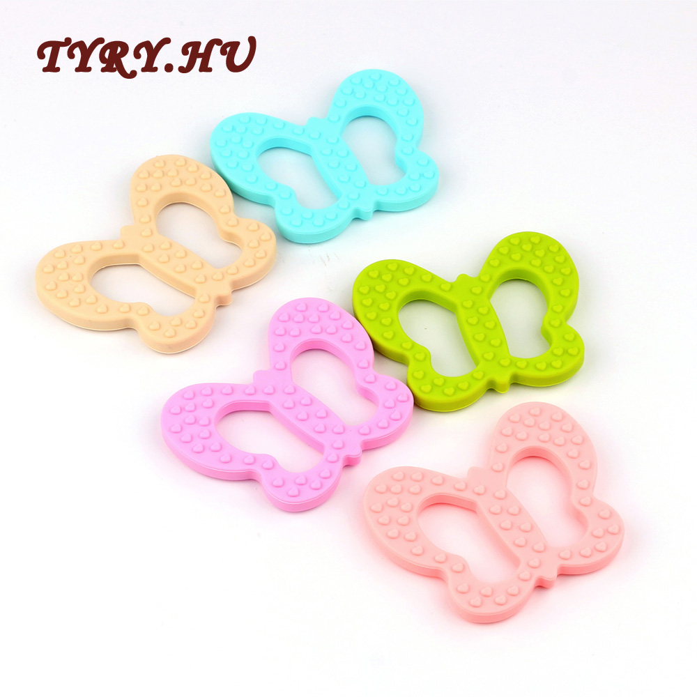 5pc Butterfly Teether Materials Food Grade Silicone BPA Free For DIY Baby Teething Necklace Pacifier Chain Pendant Toys