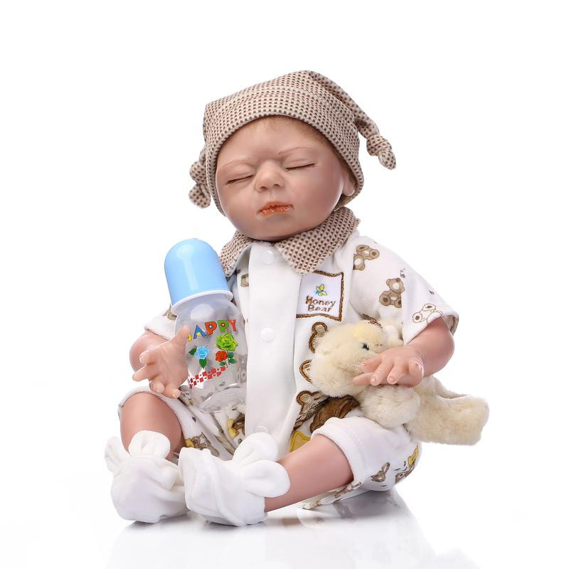 Free Shipping 50 55cm NPK Collection Reborn Baby Doll Soft Silicone Reborn Babies With Close Eyes