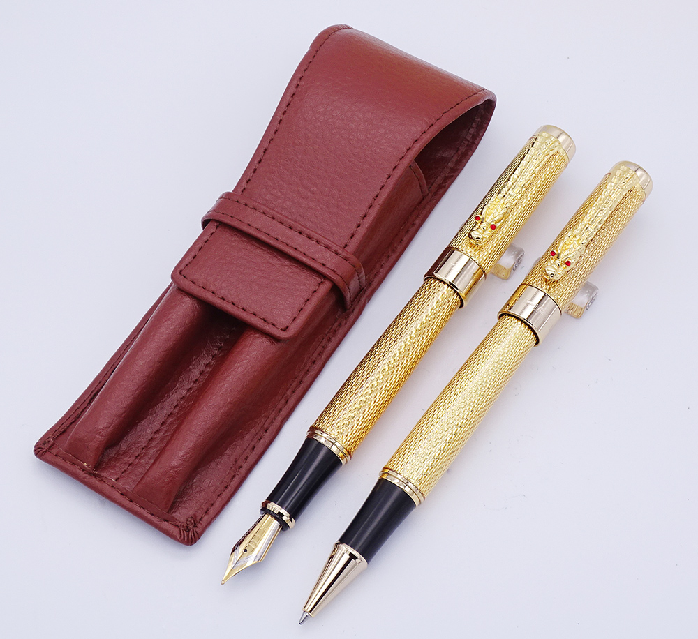 Jinhao 1200 Series Golden Fountain Pen & Roller Pen with Real Leather Pencil Case Bag Washed Cowhide Pen Case Holder Writing SetJinhao 1200 Series Golden Fountain Pen & Roller Pen with Real Leather Pencil Case Bag Washed Cowhide Pen Case Holder Writing Set