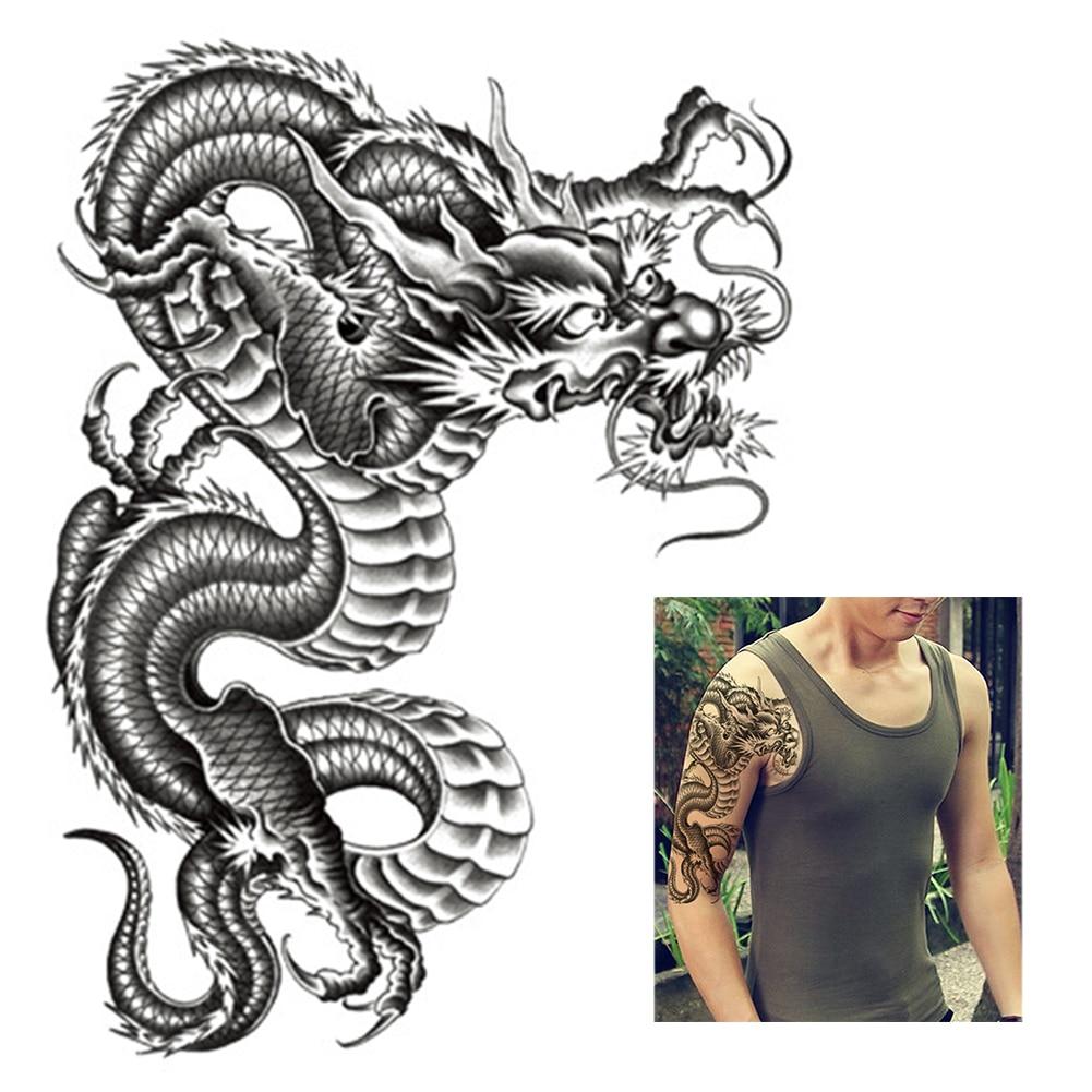 3D Black Dragon Arm Tattoo Stickers Removable Men Women Waterproof Temporary Tattoo Arm Legs Body Art Stickers