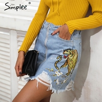 Simplee Embroidery Fringe Hole Denim Skirt Women Streetwear Zipper High Waist Skirt Female Chic Casual Pocket