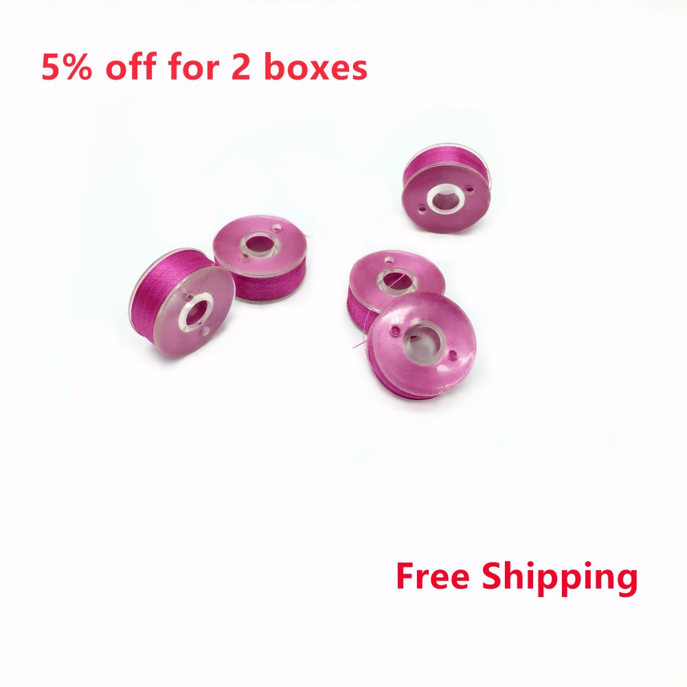 Hot Sale Pre wound Bobbin Thread Polyester Rose Red Color Plastic Side Type L 75D/2 144PCS/BOX For Embroidery Machine