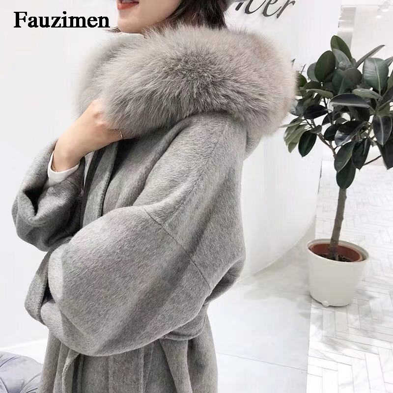 Hot Sale Cashmere Woolen Coat Sleeve Collar With Natural Real Fox Fur Casual Hooded Cardigan Women Cashmere Jacket Double-Sided