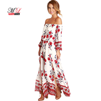 Fashion 2017 Fitaylor Summer Women Off The Shoulder Floral Maxi Dress Beach Casual Long Sleeve Vintage