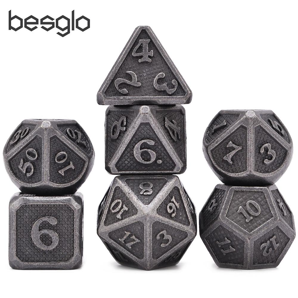 Ancient Silver New Design Metal Dice With Pouch For Dungeons And Dragon DnD RPG MTG Table Top Games