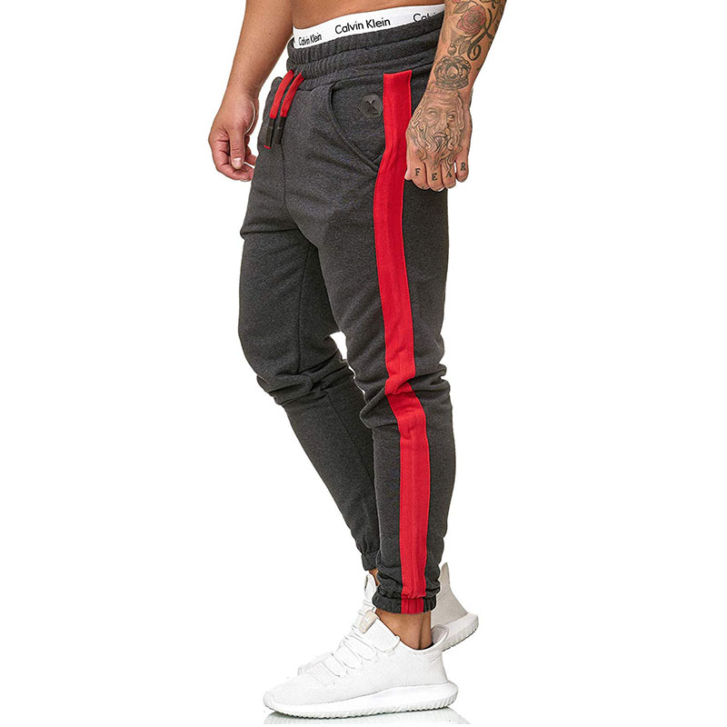 2019 Men'S Pants Gyms Men Joggers Casual Men Stitching Sweatpants Joggers Side Stripe Classic Trousers Sporting Bodybuilding(China)