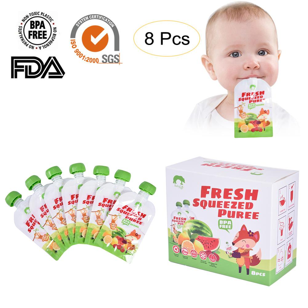 8pcs/pack Cartoon 100ML Reusable Baby Food Pouch Kids Storage Bag Breast Milk Bag Infant Double Zipper Feeding Bags Baby Product