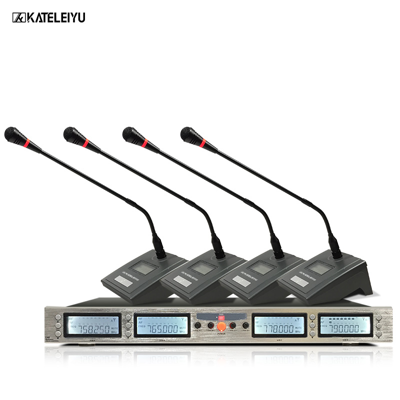 Professional Microphone 200 Channels Optional Frequency 4-Channel Conference Wireless Microphone System earobe k 808a 8 channel wireless conference microphone system for meeting desktop standing microphone