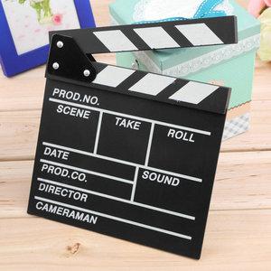 Wood Director Video Scene Clapperboard Film Slate Cut Prop TV Movie Clapper Board 20x20x1.5cm High Performance Piece ACEHE