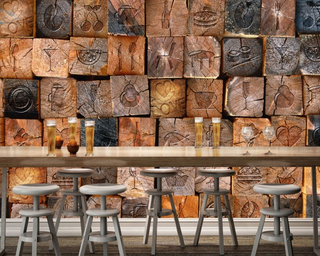 Free Shipping Retro Vintage Custom 3D Photo Wallpaper Wooden Wood Wall Cafe Restaurant Bakery